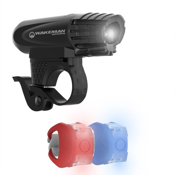 LED Bicycle Light Set USB Rechargeable Bike Headlight and 2 Tail Lights Wakeman Outdoors