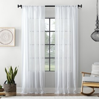 Archaeo Textured Cotton Blend Sheer Rod Pocket Curtain Panel