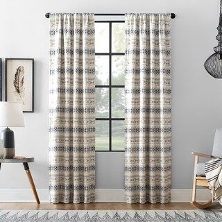 Archaeo Ikat Stripe Cotton Blend Blackout Single Curtain Panel