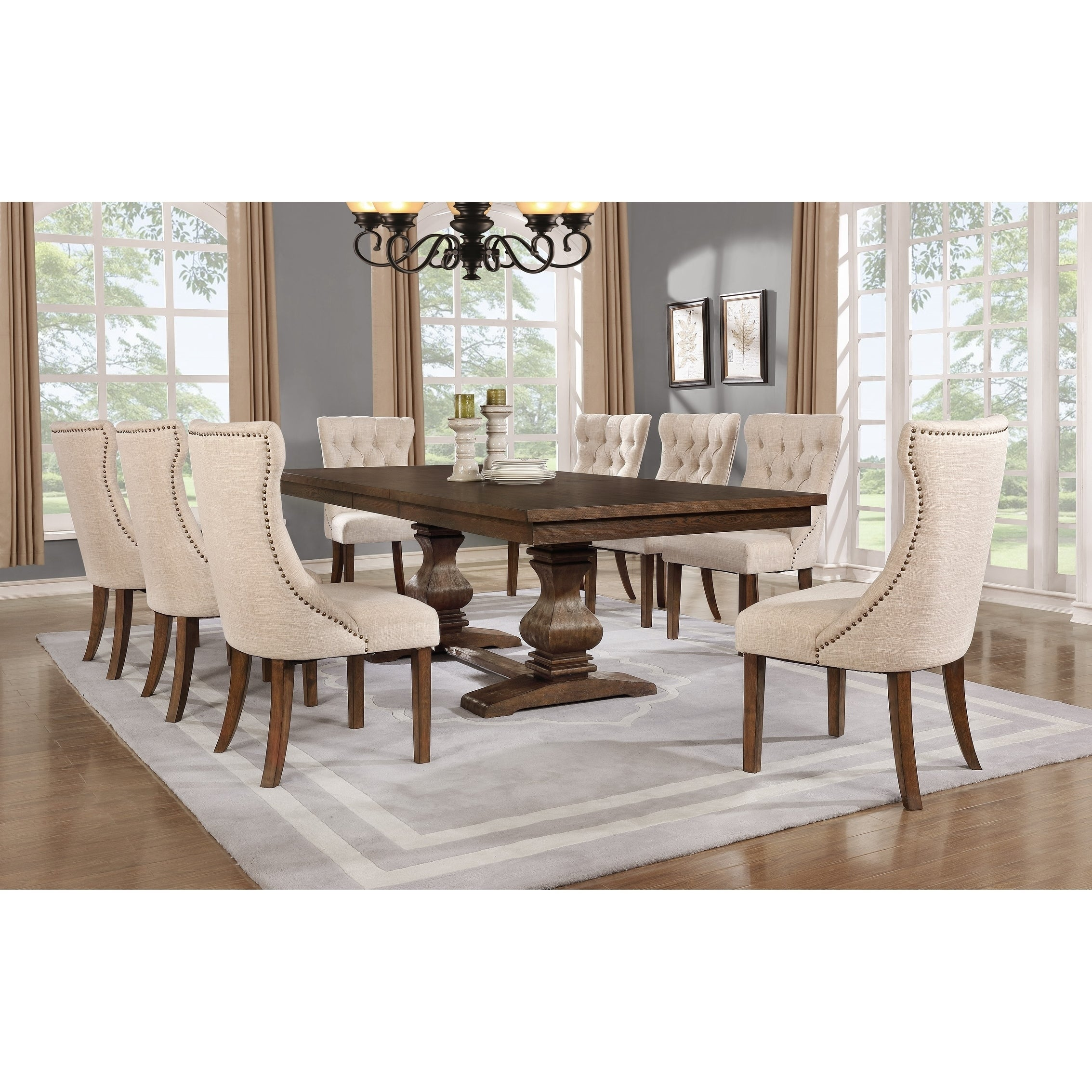 Best Quality Furniture 9 Piece Walnut Extension Dining Table Set