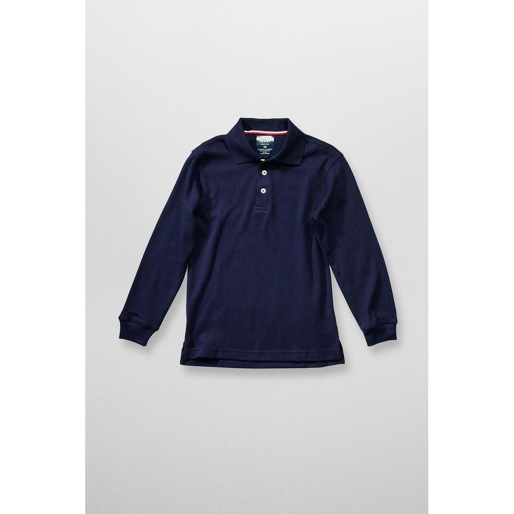 French Toast Long Sleeve Interlock Polo Boys Blue