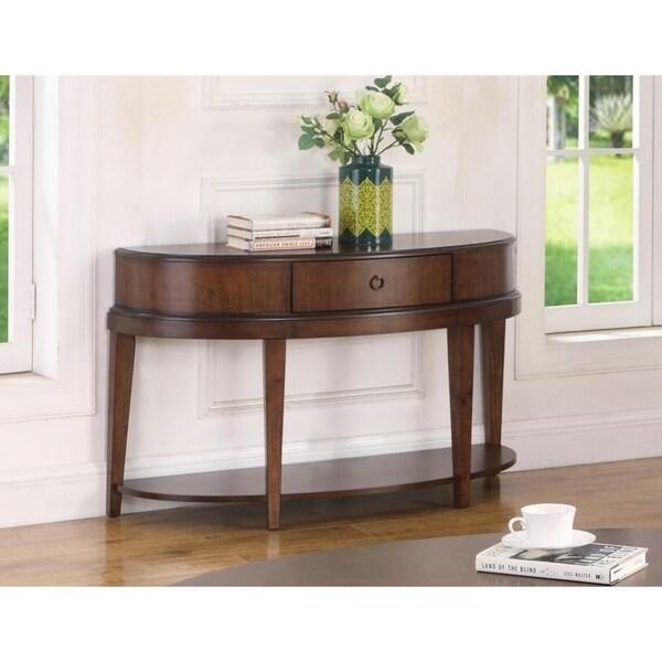 Best Master Furniture Walnut Half Dome Sofa Table