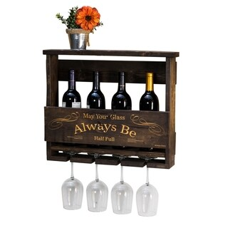 "Handmade Luxe Engraved ""Always Be"" Top Shelf Wine Rack"