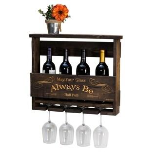"Handmade Luxe Engraved ""Always Be"" Top Shelf Wine Rack"