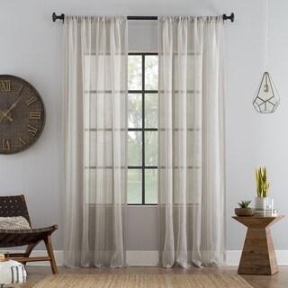 Archaeo Stripe Textured Cotton Blend Sheer Rod Pocket Curtain Panel
