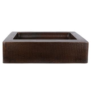 20-inch Rectangle Hammered Copper Vessel Sink with 5.25-inch Skirt