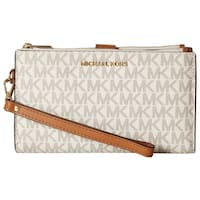 MICHAEL Michael Kors Signature Adele Double Zip iPhone 7 Plus Wristlet Vanilla