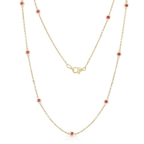 Noray Designs 14K Yellow Gold 1 Ct Ruby 10 Station Necklace, 18 Inches