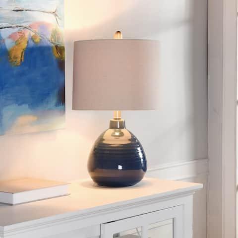 StyleCraft Ceramic Sailor Navy Table Lamp - Beige Hardback Linen Shade
