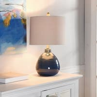Ceramic Sailor Navy Table Lamp - Beige Hardback Linen Shade