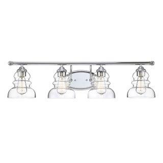 Millennium Lighting Brighton Silvertone Steel 4-light Reversible Vanity with Clear Glass Shades
