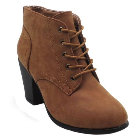 Blue Womens KENDRA Low Heel Ankle High Lace Up Fashion Winter Fall Boots