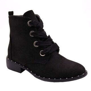 Blue Womens VIVI Ankle High Lace Up Side Zip Winter Fall Fashion Boots
