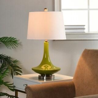 Green Table Lamp - White Hardback Fabric Shade