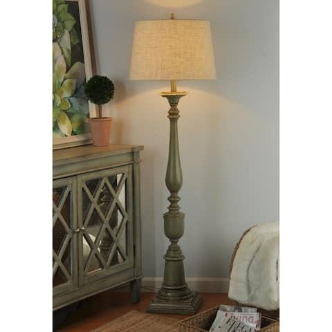 StyleCraft Avignon Distressed Green Floor Lamp - Oatmeal Hardback Fabric Shade