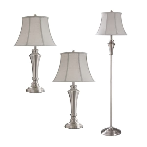 Shop 3 Piece Brushed Nickel Floor And Table Lamp Set