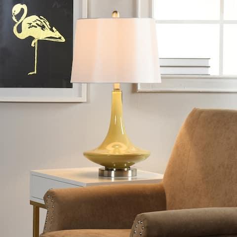 StyleCraft Gray Table Lamp - White Hardback Fabric Shade