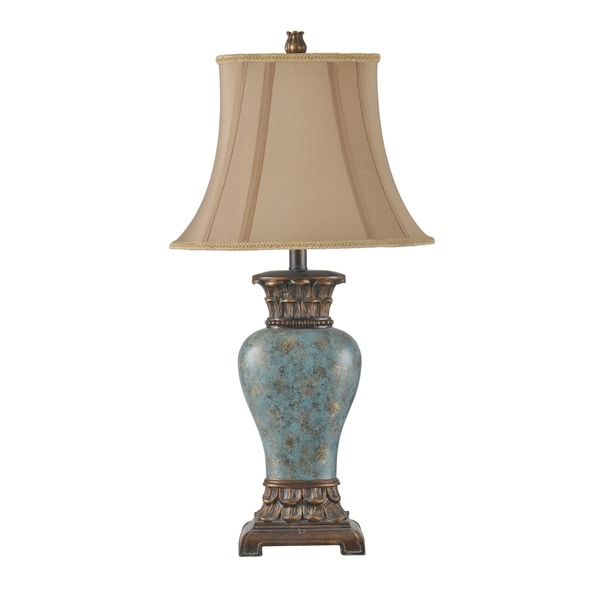 Shop Blue And Gold Table Lamp Taupe Fabric Shade Free Shipping