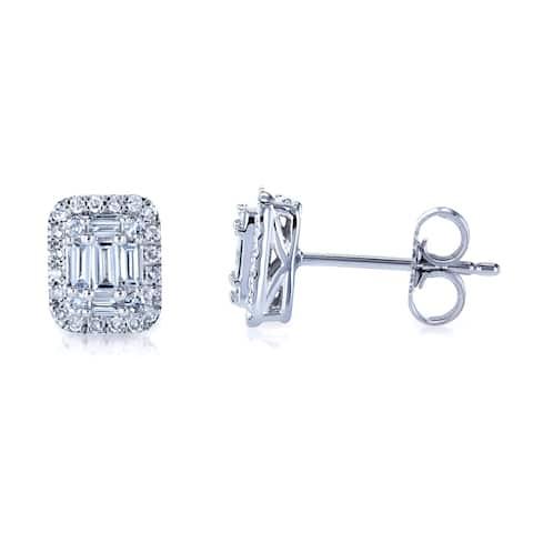 Annello by Kobelli 10k White Gold 1/3 Carat TDW Rectangular Diamond Baguette Cluster Stud Earrings