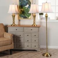 3 Piece Brass Wood Floor and Table Lamp Set - Geneva White Fabric Shade