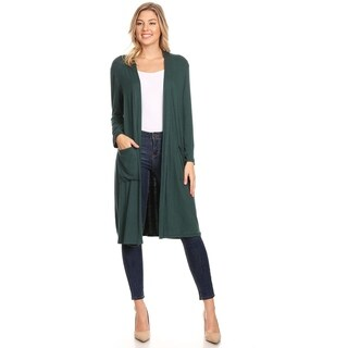 Women's Casual Solid Duster Sweater Cardigan with Pockets