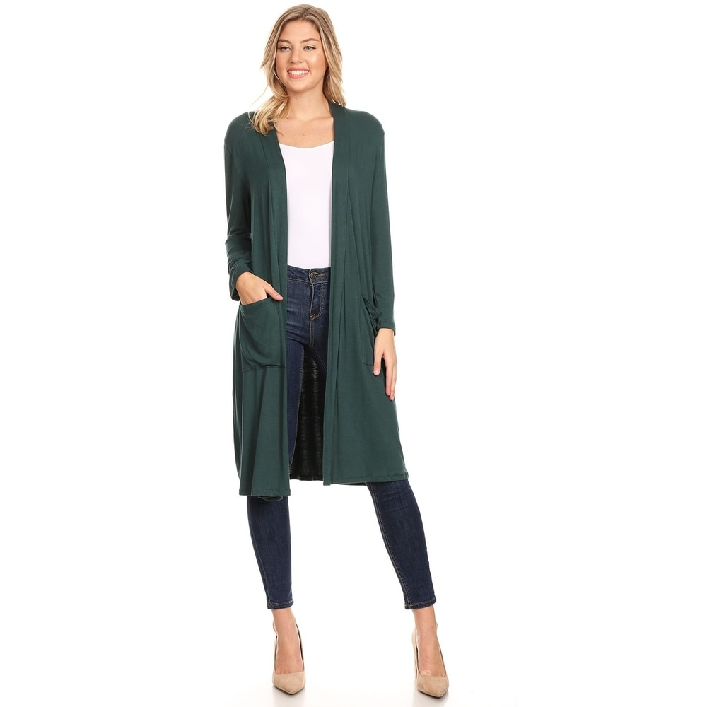 Womens Casual Solid Duster Sweater Cardigan with Pockets