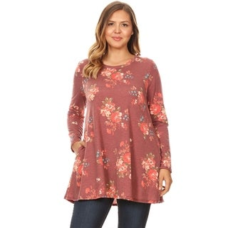 Women's Casual Plus Size Pattern Print Tunic Top