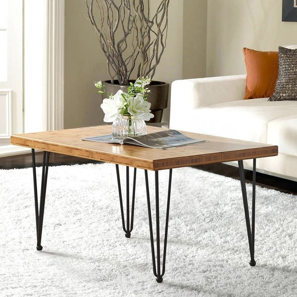 Coffee Table 36 X 24.Shop Boon Living Bamboo Wood And Metal Coffee Table With Hairpin