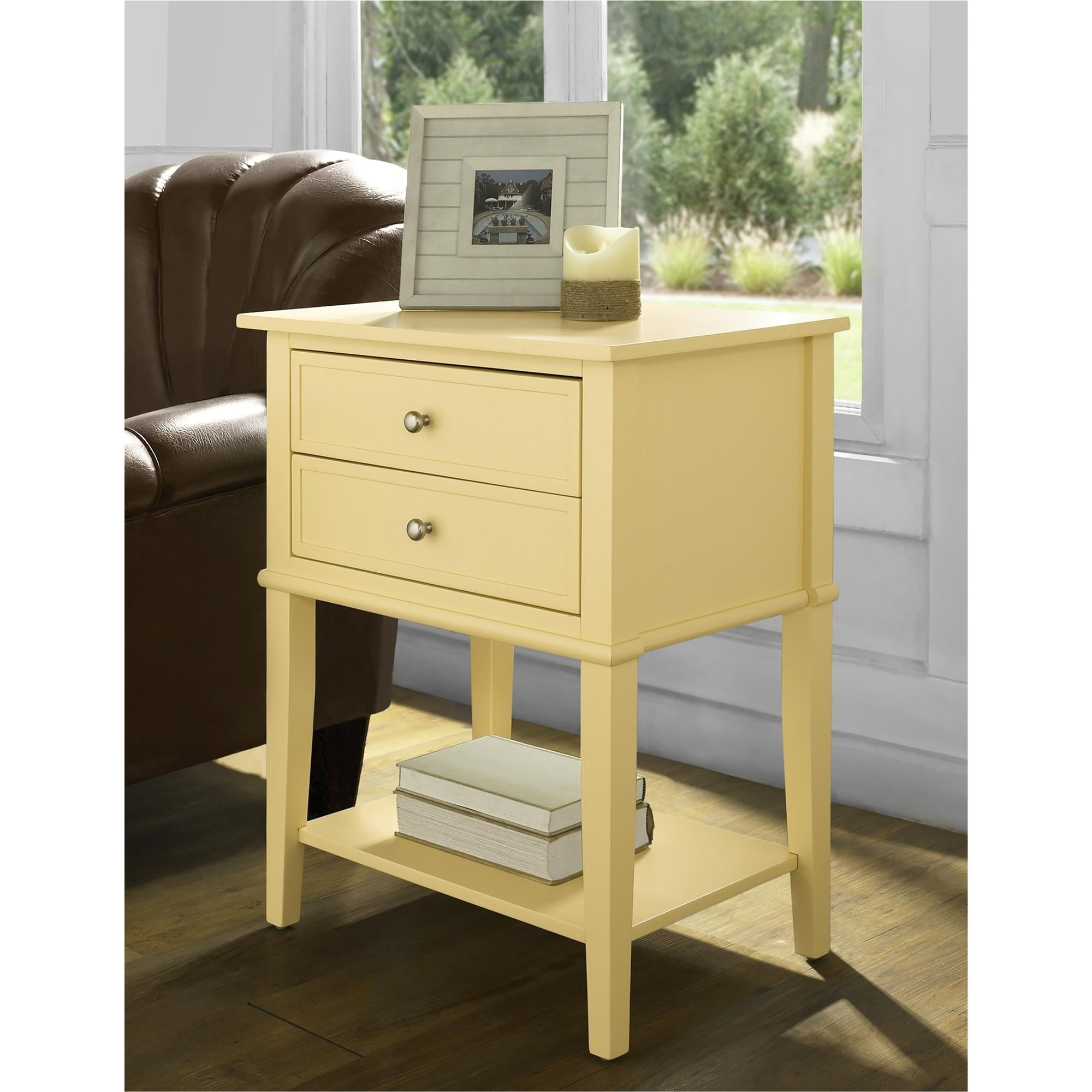 - Shop Ameriwood Home Franklin Yellow Accent Table With 2 Drawers