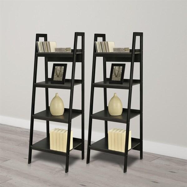 Ameriwood Home Lawrence Black 4 Shelf Ladder Bookcase Bundle