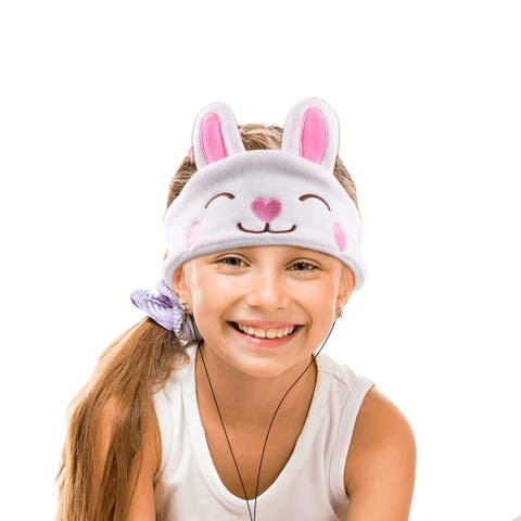 Contixo H1 Soft Kids Fleece Headphones Kid-Safe Volume Limited 85dB Ultra-Thin Speakers Headphones for Kids-White Rabbit
