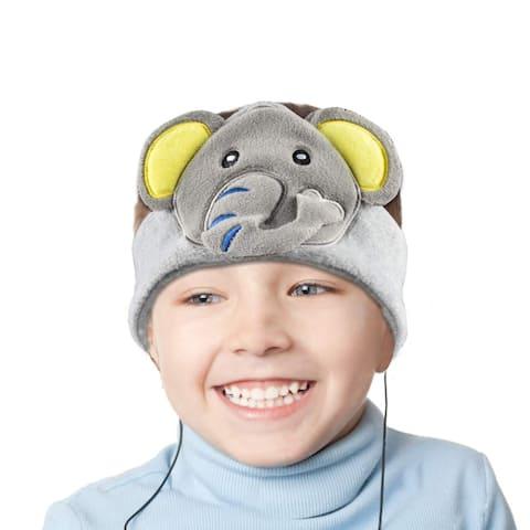 Contixo H1 Soft Kids Fleece Headphones Kid-Safe Volume Limited 85dB Ultra-Thin Speakers Headphones for Kids-Grey Elephant