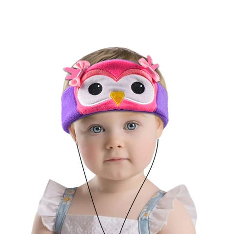 Contixo H1 Soft Kids Fleece Headphones Kid-Safe Volume Limited 85dB Ultra-Thin Speakers Headphones for Kids-Pink Owl