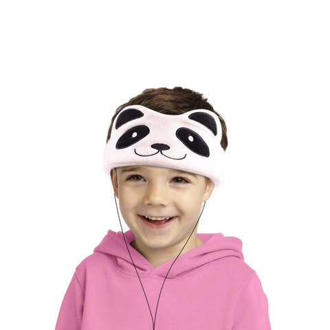 Contixo H1 Soft Kids Fleece Headphones Kid-Safe Volume Limited 85dB Ultra-Thin Speakers Headphones for Kids-White Panda