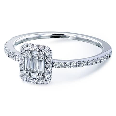 Annello by Kobelli 14k White Gold 1/4 Carat TDW Multi Diamond Rectangular Cluster Half Eternity Low Setting Engagement Ring