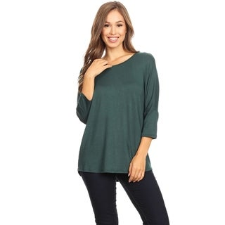 Women's Solid Basic Lightweight Dolman Sleeve Soft Knit Tunic Top