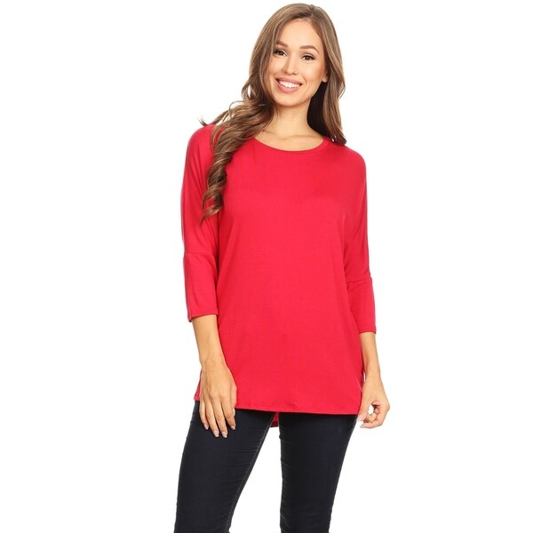 PLUS Ruched Side Rayon Dolman Kimono 3//4 sleeves Stretch Casual Tee Shirt Top