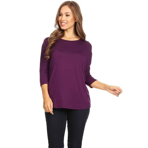 Women's Solid Basic Lightweight Dolman Sleeve Soft Knit Tunic Top