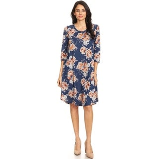 Women's Casual Pattern Curved Bottom Shift Dress with Pockets