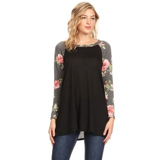 Women's Casual Soft Knit Solid Raglan Tunic Top with Pattern Sleeves