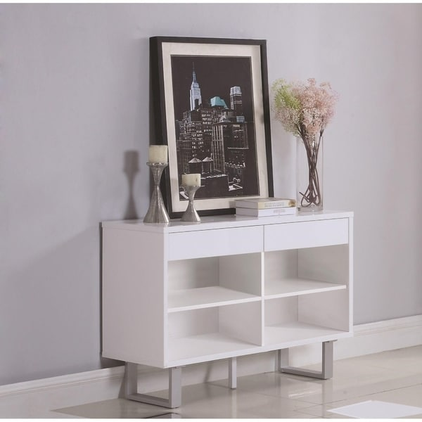 Shop Contemporary Wooden Sofa Table With Metallic Base Glossy White
