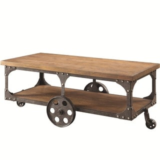 Industrial Style Solid Wooden Coffee Table With Metal Accents & Wheels, Brown