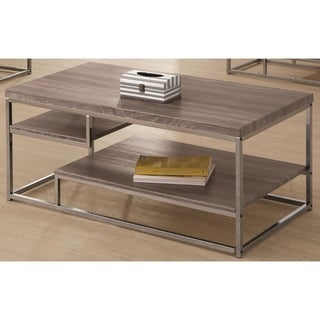 Contemporary Style Wooden Metallic Coffee Table With Two Shelves, Gray