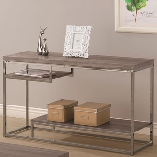 Contemporary Style Wooden Metallic Sofa Table With Two Shelves, Gray