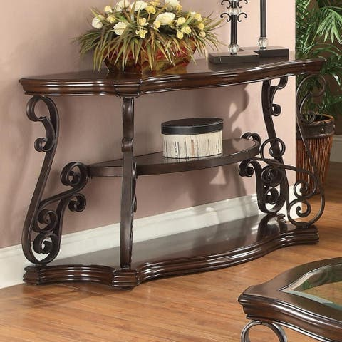 Traditional Solid Sofa Table With Glass Inset, Metal Scrolls & 2 Shelves, Brown