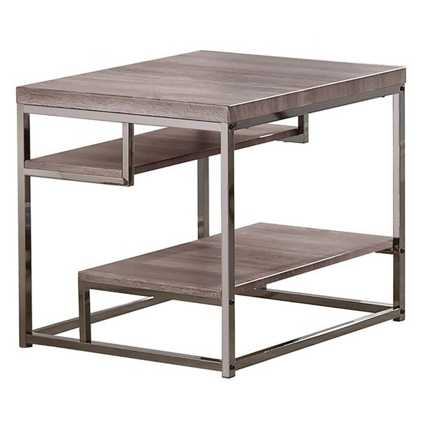 Contemporary Style Wooden Metallic End Table With Two Shelves, Gray