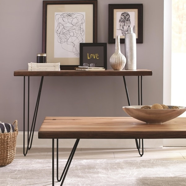 Solid Wooden Contemporary Sofa Table With V-Shaped Metal Base, Honey Brown