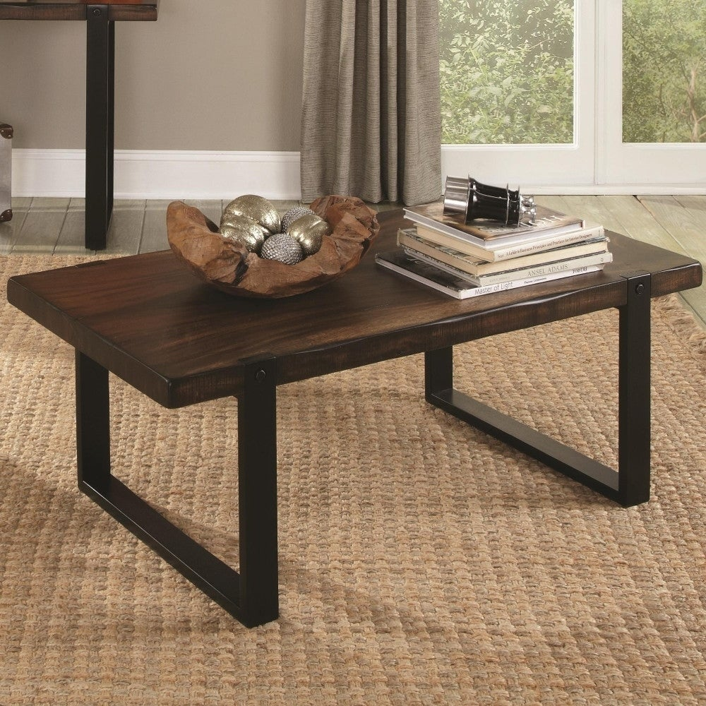 Minimalist Coffee Table With Metal Base Wooden Top Brown