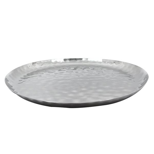 """Full Polished Stainless Steel 14"""" Round Service Tray."""