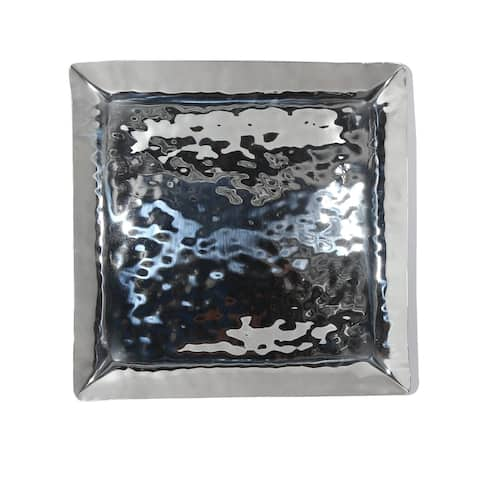 """Full Polished Stainless Steel 12"""" Square Service Tray."""